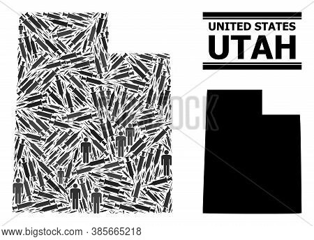 Vaccination Mosaic And Solid Map Of Utah State. Vector Map Of Utah State Is Made From Inoculation Ic