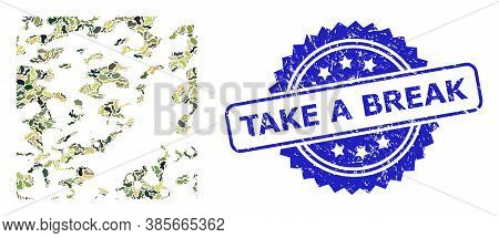 Military Camouflage Combination Of Destructed, And Take A Break Rubber Rosette Stamp. Blue Stamp Sea