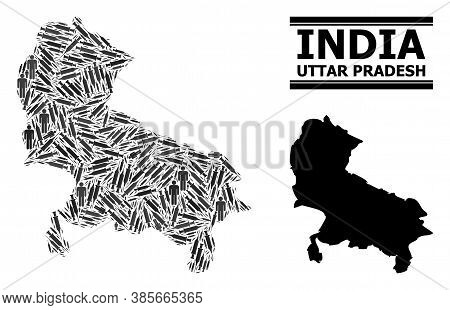 Covid-2019 Treatment Mosaic And Solid Map Of Uttar Pradesh State. Vector Map Of Uttar Pradesh State