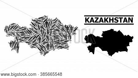 Vaccine Mosaic And Solid Map Of Kazakhstan. Vector Map Of Kazakhstan Is Constructed Of Vaccine Doses