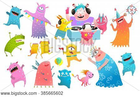 Kids Monsters Dj Party Festival, Playing Vinyl, Dancing Creatures Clipart Collection For Children. F