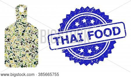 Military Camouflage Composition Of Cutting Board, And Thai Food Dirty Rosette Seal. Blue Seal Includ