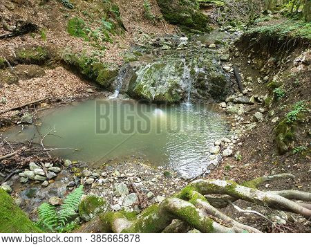 Cheile Borzesti Gorges Natural River Area. Waterfall On Small River In Dense Forest In Cluj County,
