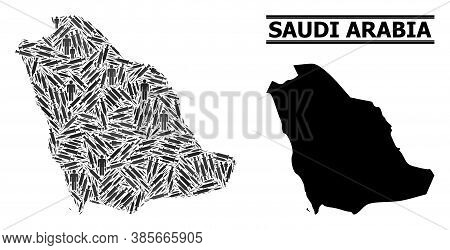Vaccination Mosaic And Solid Map Of Saudi Arabia. Vector Map Of Saudi Arabia Is Done Of Vaccine Dose