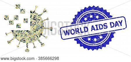 Military Camouflage Collage Of Synthetic Virus, And World Aids Day Grunge Rosette Stamp Seal. Blue S