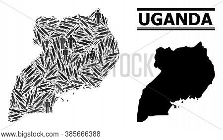 Virus Therapy Mosaic And Solid Map Of Uganda. Vector Map Of Uganda Is Designed From Inoculation Icon