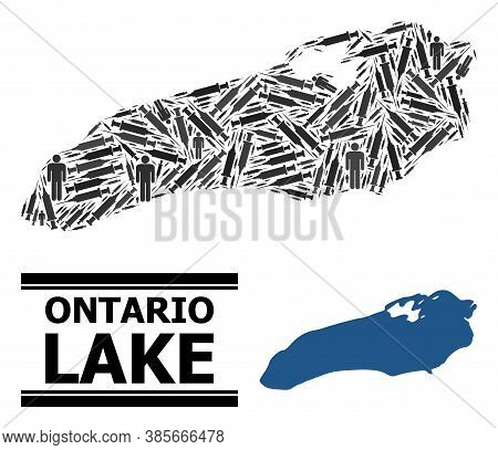 Vaccine Mosaic And Solid Map Of Ontario Lake. Vector Map Of Ontario Lake Is Designed Of Vaccine Symb