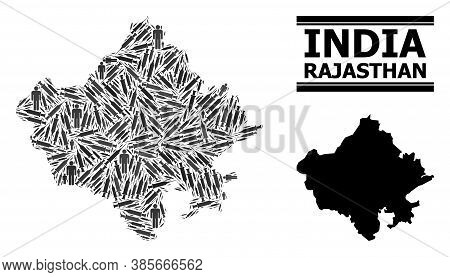 Inoculation Mosaic And Solid Map Of Rajasthan State. Vector Map Of Rajasthan State Is Created From I