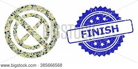 Military Camouflage Collage Of Forbidden Ban, And Finish Rubber Rosette Seal. Blue Stamp Seal Includ