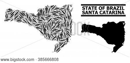 Vaccine Mosaic And Solid Map Of Santa Catarina State. Vector Map Of Santa Catarina State Is Designed