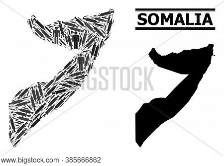 Inoculation Mosaic And Solid Map Of Somalia. Vector Map Of Somalia Is Done With Inoculation Icons An