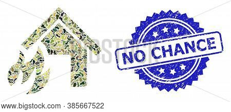 Military Camouflage Composition Of House Fire Disaster, And No Chance Dirty Rosette Seal Imitation.