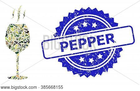 Military Camouflage Composition Of Wine Flavour, And Pepper Rubber Rosette Stamp Seal. Blue Stamp In
