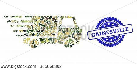 Military Camouflage Collage Of Quick Delivery, And Gainesville Grunge Rosette Stamp Seal. Blue Stamp