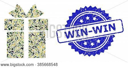 Military Camouflage Composition Of Gift, And Win-win Textured Rosette Seal Print. Blue Seal Has Win-