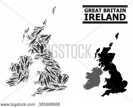 Covid-2019 Treatment Mosaic And Solid Map Of Great Britain And Ireland. Vector Map Of Great Britain