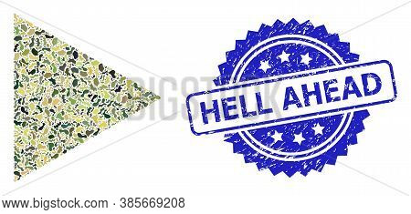 Military Camouflage Composition Of Play Function, And Hell Ahead Unclean Rosette Stamp Seal. Blue St