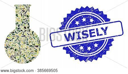 Military Camouflage Composition Of Chemical Flask, And Wisely Scratched Rosette Seal Print. Blue Sta