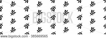 Simple Black And White Leaves Seamless Vector Border Background. Banner Of Hand Drawn Branches Of Fo
