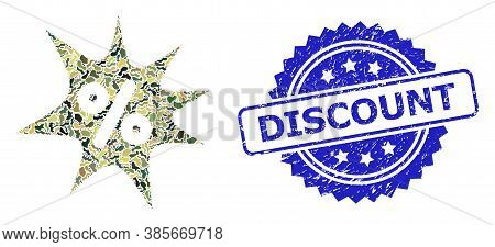 Military Camouflage Collage Of Discount Boom, And Discount Scratched Rosette Stamp Seal. Blue Stamp