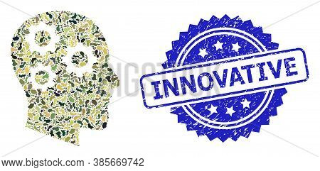Military Camouflage Collage Of Brain Gears, And Innovative Textured Rosette Seal Imitation. Blue Sea
