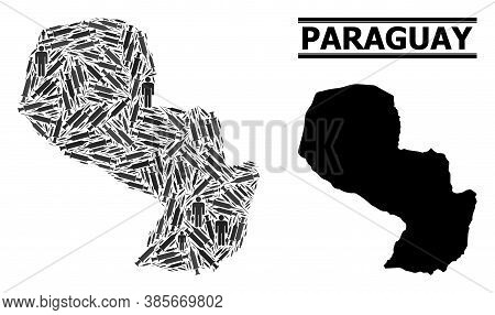 Inoculation Mosaic And Solid Map Of Paraguay. Vector Map Of Paraguay Is Formed From Syringes And Peo