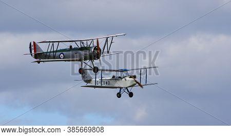 Ickwell, Bedfordshire, England - September 06, 2020: Vintage De Havilland  1928  Dh60x  Moth Biplane