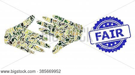 Military Camouflage Collage Of Fair Trade Handshake, And Fair Corroded Rosette Stamp Seal. Blue Stam
