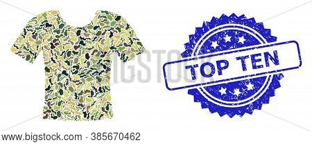 Military Camouflage Collage Of Dirty T-shirt, And Top Ten Grunge Rosette Stamp Seal. Blue Stamp Seal