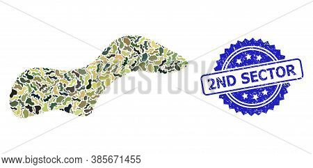 Military Camouflage Combination Of Spot, And 2nd Sector Dirty Rosette Seal Imitation. Blue Seal Incl