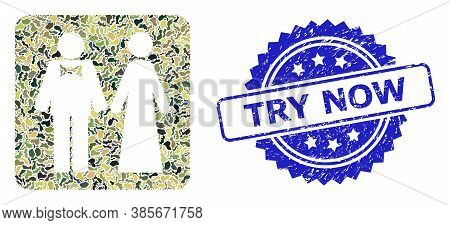 Military Camouflage Collage Of Just Married Persons, And Try Now Dirty Rosette Seal Print. Blue Seal