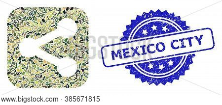 Military Camouflage Combination Of Share, And Mexico City Unclean Rosette Seal Print. Blue Seal Incl
