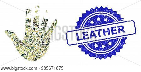 Military Camouflage Collage Of Destructed Hand, And Leather Rubber Rosette Stamp. Blue Stamp Seal Co