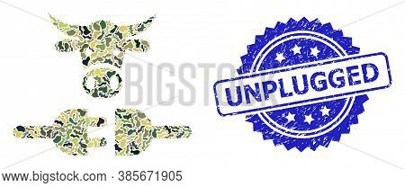 Military Camouflage Combination Of Farm Power Supply, And Unplugged Unclean Rosette Seal. Blue Seal