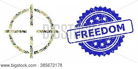 Military Camouflage Composition Of Target, And Freedom Corroded Rosette Stamp Seal. Blue Stamp Seal