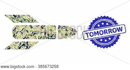 Military Camouflage Combination Of Rocket, And Tomorrow Unclean Rosette Stamp Seal. Blue Stamp Seal