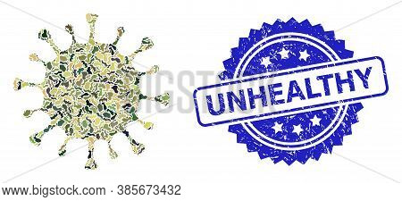 Military Camouflage Composition Of Coronavirus, And Unhealthy Dirty Rosette Stamp Seal. Blue Stamp S