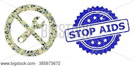 Military Camouflage Collage Of Stop Repair, And Stop Aids Unclean Rosette Stamp Seal. Blue Stamp Inc