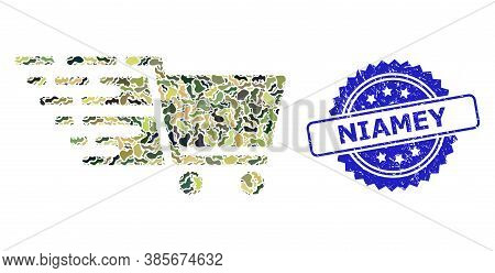 Military Camouflage Collage Of Supermarket Cart, And Niamey Unclean Rosette Stamp Seal. Blue Stamp S