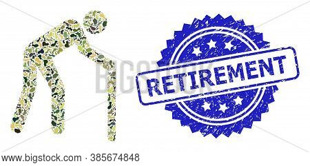 Military Camouflage Collage Of Retired Person, And Retirement Rubber Rosette Seal. Blue Seal Contain
