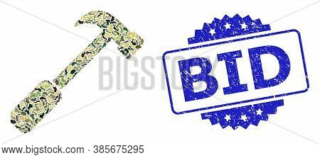 Military Camouflage Collage Of Hammer, And Bid Textured Rosette Seal Imitation. Blue Seal Contains B
