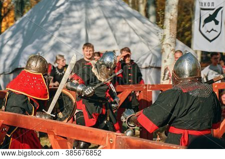 Medieval Reenactment Reconstruction Of Knightly Battles During The Festival Of Historical Clubs. Thr