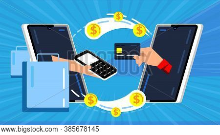 Mobile Payments. Online Money Transfer Between Smartphones. Raster Hand Appearing From Mobile Phone