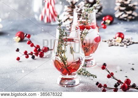 Winter Alcoholic Cocktail With Red Berries, Liquor, Gin, Thyme And Vodka For Christmas Or New Year.