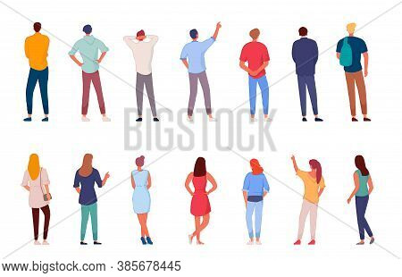 People Character. Man And Woman View From Back Set Isolated On White Background. Young Human Person
