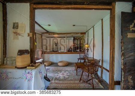 Jeju City,south Korea-july 2019: Bohemian Vintage Style Interior With Rattan And Wooden Furniture