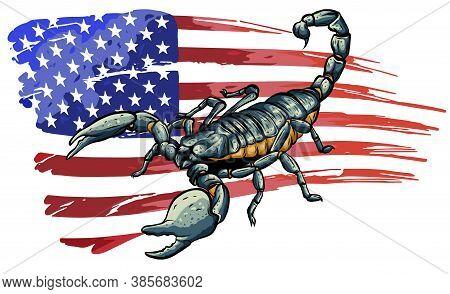 Realistic Scorpion Cartoon Vector Illustration Design Art