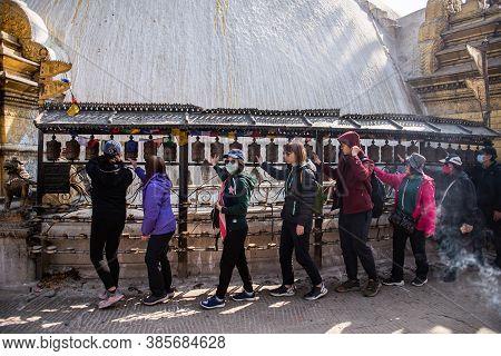 Kathmandu, Nepal - Jan 25, 2020:prayer Wheels At Boudhanath Stupa In Kathmandu, Nepal