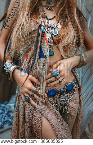 Beautiful Young Gypsy Style Woman Close Up Portrait