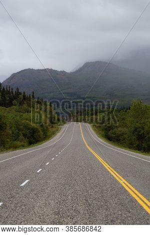 Beautiful Scenic Road, Klondike Hwy, In The Canadian Nature During Fall Season. Taken In Yukon, Cana